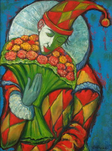 'Clown with a Bouquet', Victor Savchenko