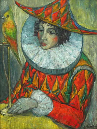 'Harlequin with a Parrot', Victor Savchenko