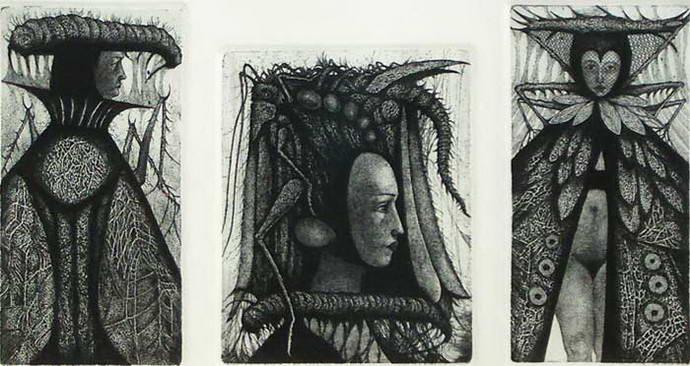 King / Locust Mask I / Queen (triptych), Victor Savchenko