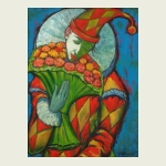 Victor Savchenko, 'Clown with a Bouquet'. $990