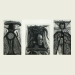 Victor Savchenko, King / Locust Mask I / Queen (triptych), $270