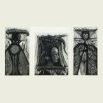 Victor Savchenko, King / Locust Mask I / Queen (triptych)