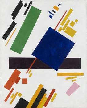 Kazimir Malevich. Suprematist composition (blue rectangle over purple beam)