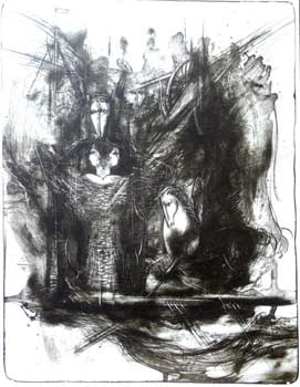 Kamil Kamal. Ship of Fairytales. Lithograph. 50cm x 66cm, 1997