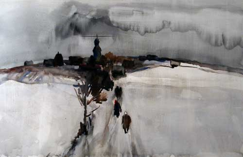 Vital Tsvirka. Church in a Village. 1980. 47cm x 72cm. Watercolor