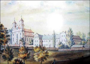 Smilavichy in 1870th. Church of St. Vincent and monastery