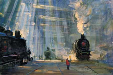 Vasily Sumarev. Morning in the Depot